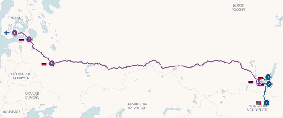 Carte de l'itinéraire en Russie de Morgane et Toni