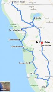 google maps du road trip en Namibie